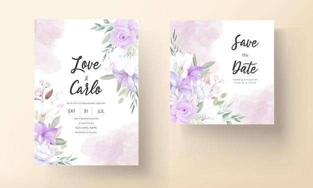 Ręcznie rysowane piękny fioletowy kwiatowy zaproszenie na ślub szablon