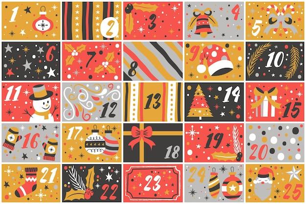 Ręcznie rysowane piękny kalendarz adwentowy