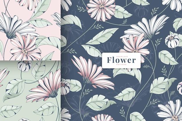 Ręcznie rysowane piękny pastelowy kolor kwiatowy wzór kolekcji