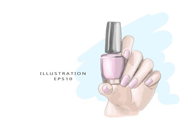 Ręcznie rysowane piękny szkic do manicure. stylowy efektowny dziewczęcy nadruk.