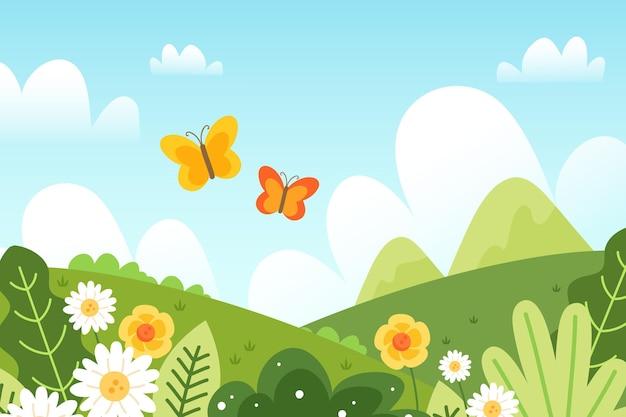 Ręcznie rysowane piękny wiosenny krajobraz