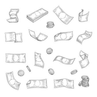Ręcznie rysowane pieniądze. srebrne monety finansują kolekcję symboli inwestycji kapitału złotego.