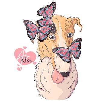 Ręcznie Rysowane Pies Borzoj Z Motylami Premium Wektorów
