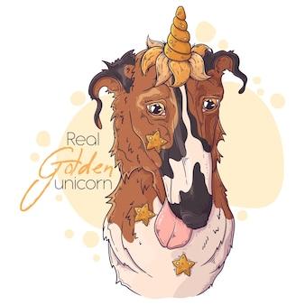 Ręcznie rysowane pies borzoj z rogiem jednorożca