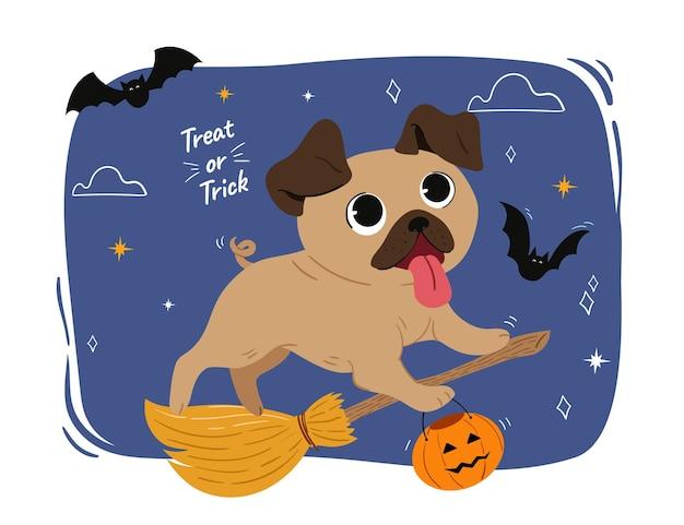 Ręcznie rysowane pies halloween
