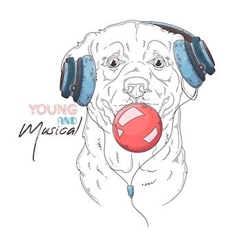Ręcznie rysowane pies labrador retriever nadmuchuje gumę balonową