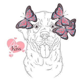 Ręcznie rysowane pies labrador retriever z motylami