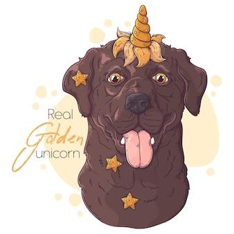 Ręcznie rysowane pies labrador retriever z rogiem jednorożca