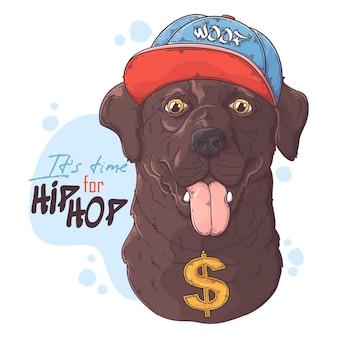 Ręcznie rysowane pies raper labrador retriever
