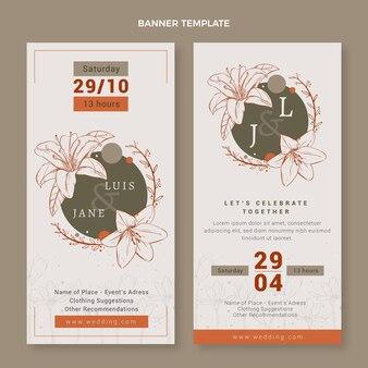 Ręcznie rysowane pionowe banery ślubne w kwiaty