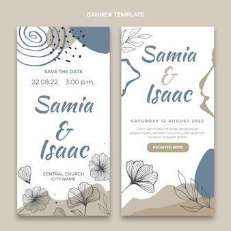Ręcznie rysowane pionowe banery ślubne