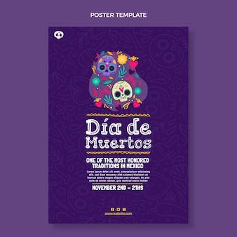 Ręcznie rysowane pionowy szablon plakatu dia de muertos