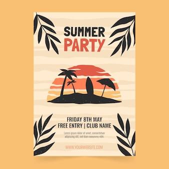 Ręcznie rysowane pionowy szablon plakatu letniej imprezy
