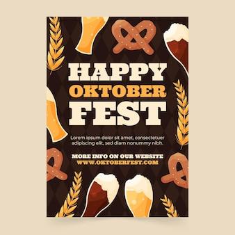 Ręcznie rysowane pionowy szablon ulotki oktoberfest