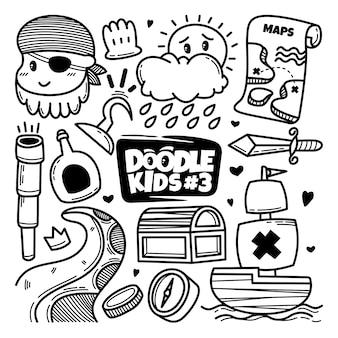 Ręcznie rysowane piraci doodle zestaw