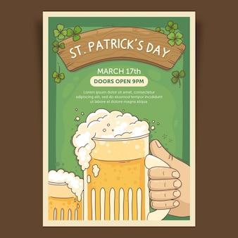 Ręcznie rysowane piwo ul. szablon plakatu na dzień patryka