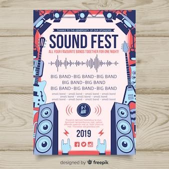 Ręcznie rysowane plakat festiwal muzyczny szablon
