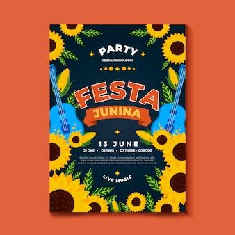 Ręcznie rysowane plakat festiwalu czerwca