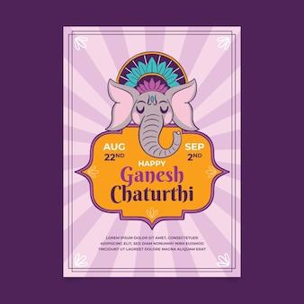 Ręcznie rysowane plakat ganeśćaturthi