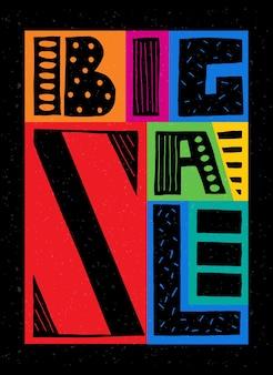 Ręcznie rysowane plakat typografii duży baner sprzedaży na kolorowym tle sprzedaż tło eps 10