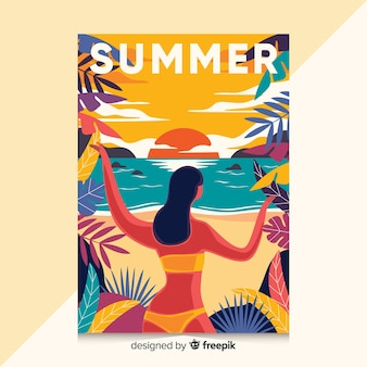 Ręcznie rysowane plakat z ilustracją lato