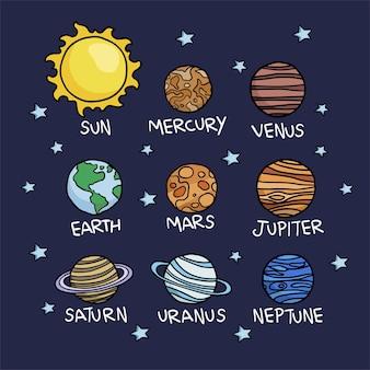 Ręcznie rysowane planety