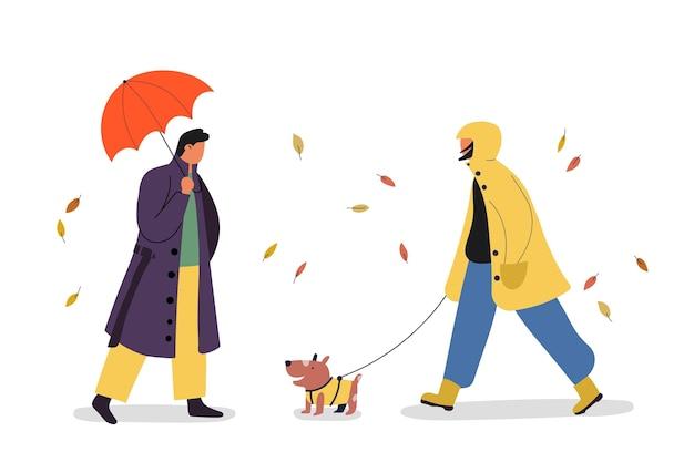 Ręcznie Rysowane Płascy Ludzie Na Jesiennej Ilustracji Premium Wektorów