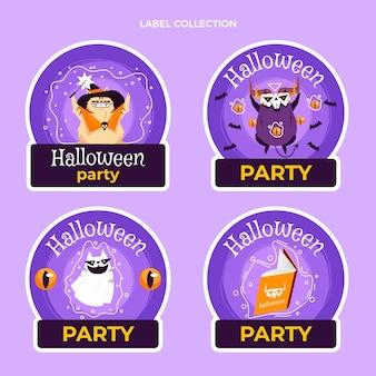 Ręcznie rysowane płaska etykieta halloween i odznaki