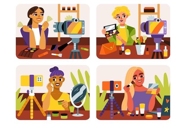 Ręcznie rysowane płaska ilustracja blogerów