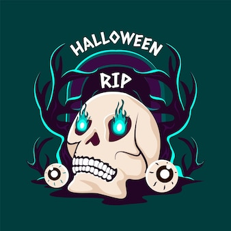 Ręcznie rysowane płaska ilustracja czaszki halloween