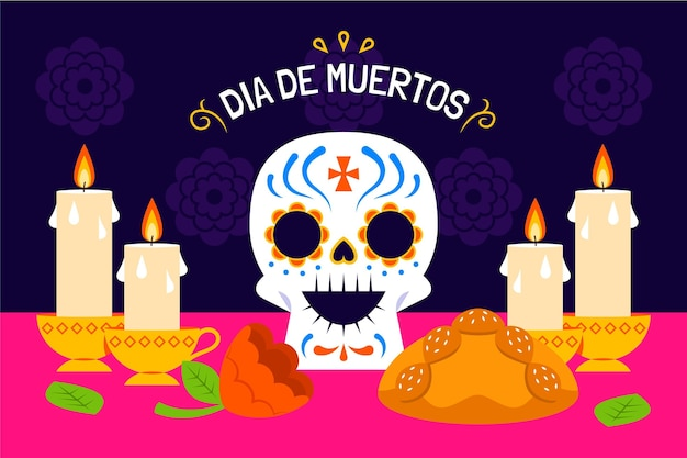 Ręcznie rysowane płaska ilustracja dia de muertos