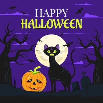Ręcznie rysowane płaska ilustracja halloween