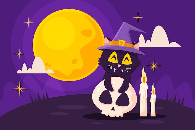 Ręcznie rysowane płaska ilustracja kota halloween
