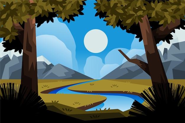 Ręcznie rysowane płaska ilustracja krajobrazu