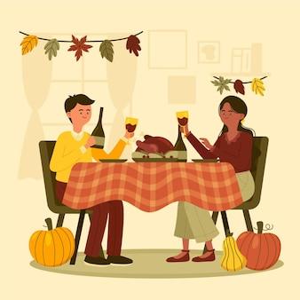 Ręcznie rysowane płaska ilustracja ludzi świętujących święto dziękczynienia