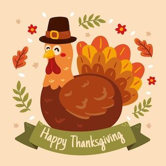 Ręcznie rysowane płaska ilustracja na święto dziękczynienia