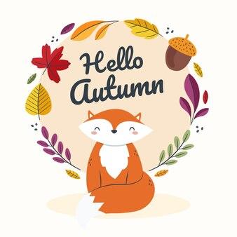Ręcznie rysowane płaska jesienna ilustracja z lisem i liśćmi