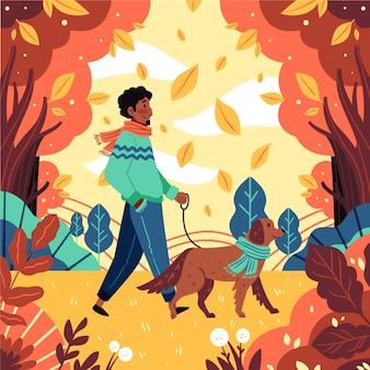 Ręcznie rysowane płaska jesienna ilustracja z mężczyzną spacerującym z psem
