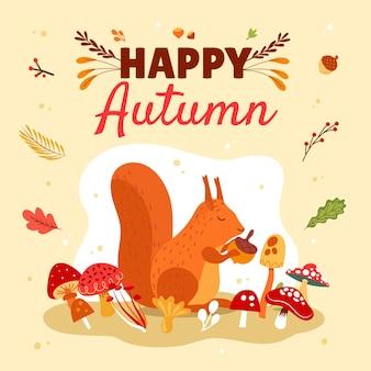 Ręcznie rysowane płaska jesienna ilustracja