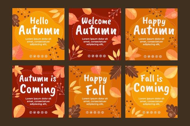 Ręcznie rysowane płaska jesienna kolekcja postów na instagramie