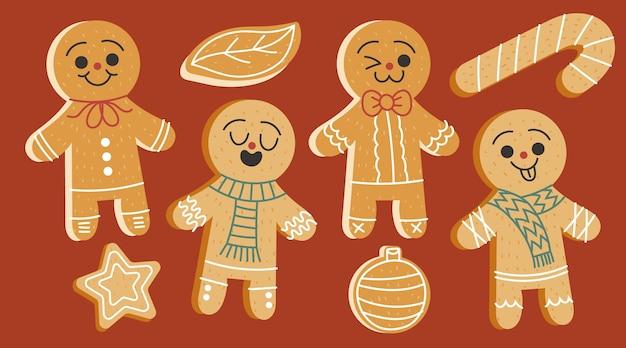 Ręcznie rysowane płaska kolekcja ciastek z piernika dla mężczyzn