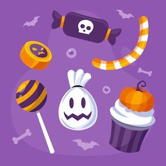 Ręcznie rysowane płaska kolekcja cukierków halloween