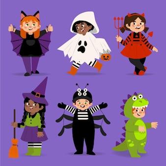 Ręcznie rysowane płaska kolekcja dla dzieci halloween