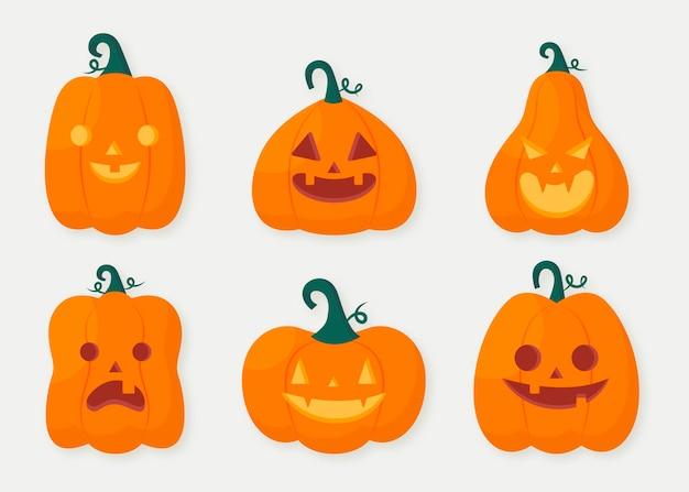 Ręcznie rysowane płaska kolekcja dyni halloween