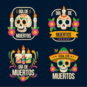 Ręcznie rysowane płaska kolekcja odznak dia de muertos