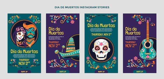 Ręcznie rysowane płaska kolekcja opowiadań dia de muertos na instagramie