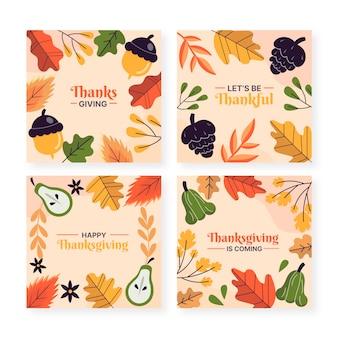 Ręcznie rysowane płaska kolekcja postów na instagram dziękczynienia