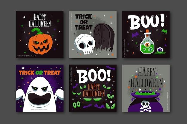 Ręcznie rysowane płaska kolekcja postów na instagramie halloween