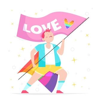Ręcznie rysowane płaska koncepcja zatrzymania homofobii