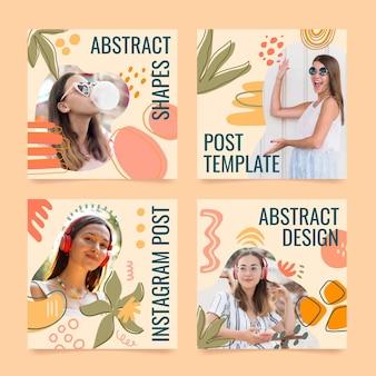 Ręcznie rysowane płaska konstrukcja abstrakcyjne kształty posty na instagramie